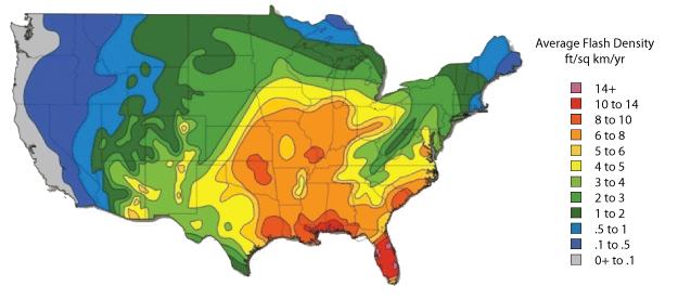 INHS Lightning Density Map